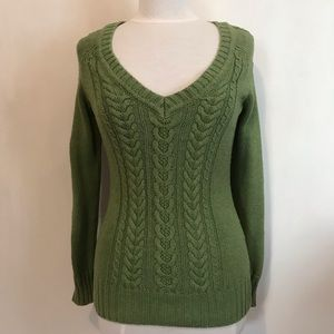 AEROPOSTALE green cable knit cozy sweater sz L